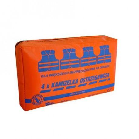 Zestaw 4 kamizelek ostrzegawczych w opakowaniu z tkaniny wodoodpornej Vera