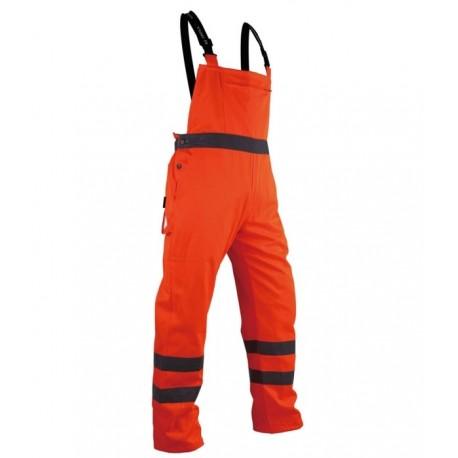 Spodnie robocze ostrzegawcze pomarańczowa na szelkach Vizwell VWTC08O