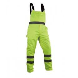 Spodnie robocze ostrzegawcze żółte na szelkach Vizwell VWTC08Y